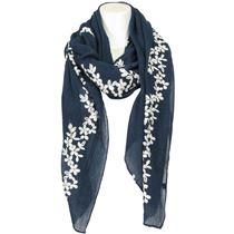Embroidered Flower Scarf