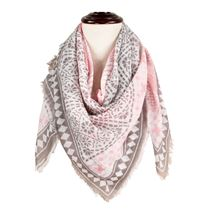 Patterned Square Tassel Scarf