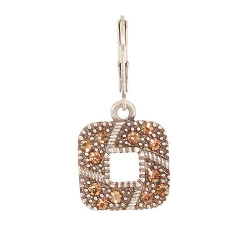Sterling Silver Square Hoop Earrings Crystal Earrings Vintage